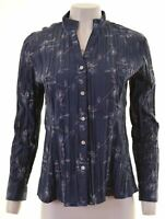LEE Womens Shirt Size 12 Medium Navy Blue Floral Cotton  NA88