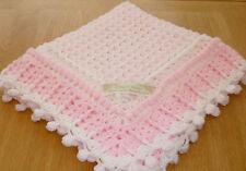 BABY BLANKET Hand made-crochet knit  LOVELY DETAILED EDGE.