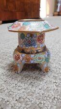 Gold floral Ceramic Asian Pagoda Candle Holder - tea light - Japan