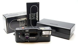 Olympus XA 35mm Compact Camera & A16 Flash + Box, Case & Manual - UK Dealer