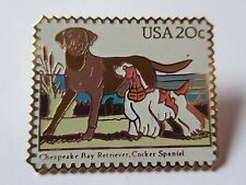 Chesapeake Bay Retriever Cocker Spaniel Dog #2099 20c 1984 Stamp Pin Pinback NEW