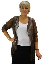 Ladies Plus Size Long Sleeve Floral Lace Waterfall Cardigan Top Cover Up 14-28