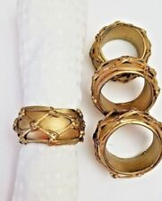 Set of 4 Vintage Gold Colored Wooden Round Napkin Rings Painted Wood Hand Made