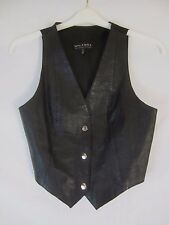 Wilsons Leather Black Snap Front Lined Vest - Women's Small - DD86