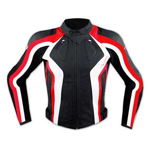 Giacca Racing Sport Pelle Moto Giubbino Protezioni Omologate Rosso