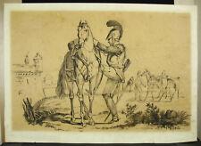 Dessin original au fusain c1900 cavalier casqué militaria dragon scène militaire