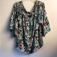 Women's boutique Floral Boho Top 3XL tunic blouse Teal Pattern