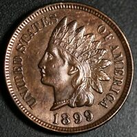 1899 INDIAN HEAD CENT - AU UNC -With REPUNCHED DATE *SNOW-2* 3 STAR VARIETY! RPD
