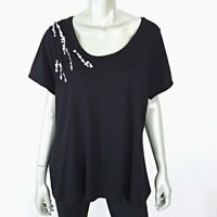Relativity Womens Black Sequin Top Plus Size 2X Pullover Stretch Short Sleeve