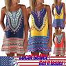 Fashion Women Boho Summer Color Block Sleeveless A-Line Maxi Mini Dress Sundress