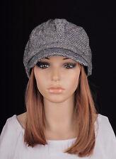 NM269 Black Cute Classic Stripe Wool & Cotton Hat Cap Newsboy Cabbie Women's