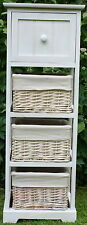 4 DRAWER WOOD & WICKER STORAGE UNIT - FOR THE BATHROOM