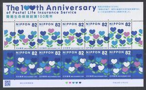 JAPAN 2016 100TH ANNIV. OF POSTAL LIFE INSURANCE SOUVENIR SHEET 10 STAMPS MINT