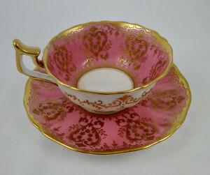Antique Cauldon Tea Cup & Saucer, Pink & Gold