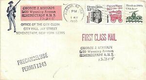 1990 Albany, New York Cancel on Cover w Precancel Use Permit 1243 Auxiliary Mark