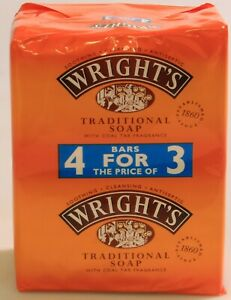 4 BARS WRIGHTS TRADITIONAL COAL TAR ANTISEPTIC CLEANSING FRAGRANCE SOAP 125g