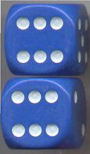 NEW Dice Set of 2 D6 (22mm) - Opaque Blue