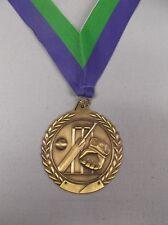 """cricket trophy 2 3/4"""" diameter gold large gold medal wide green/blue neck drape"""