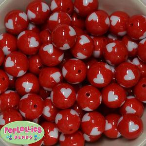 20mm RED Heart Print Chunky Acrylic Bubblegum Beads chunky gumball