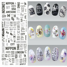 Black Water Decal City Letters Nail Art Transfer Stickers Manicure Tattoo Tips