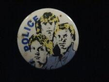 Police-Color-Group-Blue Shirt-Rock-Pin Badge Button-80's Vintage-Rare