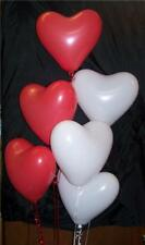 """10 Red, White, Heart Shaped Valentine Latex Balloons 12"""" size-  romantic love"""