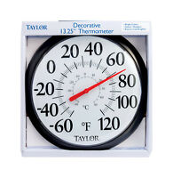 Taylor  Wind Chill and Heat Index  13-1//4in Indoor and Outdoor  Dial Thermometer