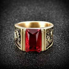 Promise Baguette Red Garnet Ruby Stainless Steel Mens Signet Dragon Biker Rings