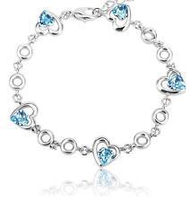 New Silver 5 Love Hearts Bracelet Aqua Blue Crystals from Swarovski Jewelry
