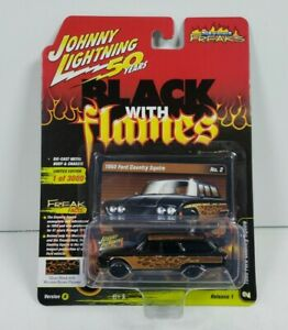 Johnny Lightning 50 Years Black With Flames 1960 Ford Country Squire Version A