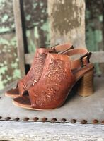Roper Women's Mika Tan Tooled Leather Peep Toe Shoes Sandals 1276