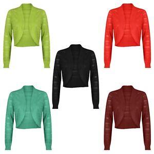 Ladies Womens Knitted Bolero Crochet Shrug Cover Up Top Cardigan- Full Sleeve