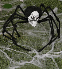 Giant Spider With Skull Decoration Halloween Party Prop 85cm Leg Span Spooky