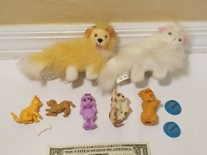 Vtg 90s Mattel Barbie Pet LOT including Dogs, Cats, Some with Food Dish
