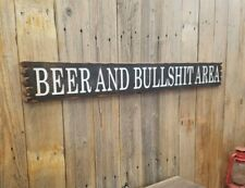 BEER And BULLSHIT Area/Rustic/Carved/Wood/Sign/Man Cave/Porch/décor/Patio/Garage