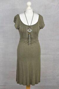 FAT FACE Khaki green scoop neck lace trim dress UK 8
