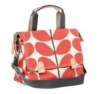 Orla Kiely Small Zip Satchel Messenger Red Linear Stem Shoulder Bag