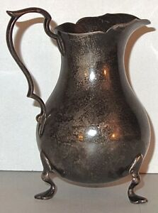 """ANTIQUE JW CUSACK (1832-1898) STERLING 4-1/4"""" FOOTED PITCHER~111G~NOT WEIGHTED!"""