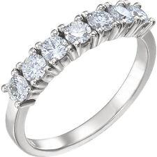 7 Round Diamond Wedding Ring Anniversary Band 0.16 ct each VS2 1.12  tcw