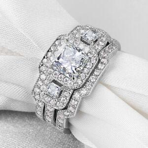 Women Princess AAA Cz 925 Sterling Silver Wedding Engagement Ring 3pcs Set Sz 6