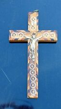 ANTIQUE FRANCISCAN ORDER HAND CRAFTED HOLY LAND RELIQUARY CROSS & RELICS