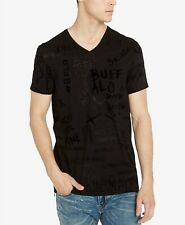 $99 BUFFALO DAVID BITTON Men BLACK GRAPHIC V-NECK SHORT-SLEEVE T-SHIRT TEE XL