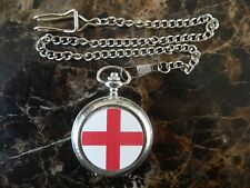 Watch With Chain (New) England Flag Chrome Pocket