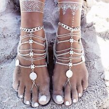 Summer Sexy Silver Tassel Anklet Women Coin Barefoot Chain Ankle Bracelet Foot