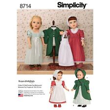 """S8714 Simplicity 8714 Sewing Pattern Doll 18""""/ 45cm Historic Victorian Clothes"""
