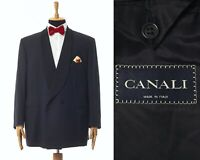 Mens CANALI One Button Tuxedo Blazer Coat Jacket Wool Mohair Black