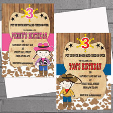Personalised Birthday Party Invitations Cowboys Cowgirls Western x 12 H1687