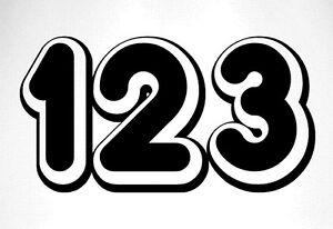 3 x Race Numbers Vinyl Stickers Decals Dirt Bike Motocross Trials Kart - S1