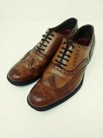 (Over $300 New)Grenson Dylan Men's Brogues Dress Shoes Tan Calf Leather Size 8F