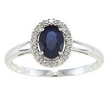 White Gold Genuine Oval Blue Sapphire and Diamond Halo Ring